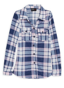 Girls 4-6 Plaid Button Down Shirt with Convertible Sleeves - 3605051060013