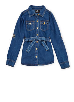 Girls 4-6x Belted Denim Top - 3605054730003