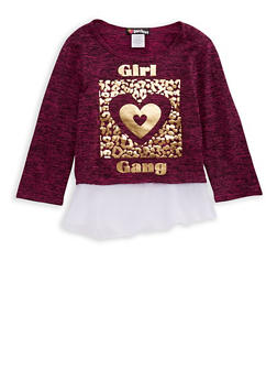 Girls 7-16 Long Sleeve Girl Gang Graphic Top - 3606021280006