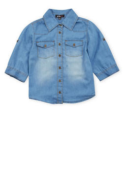 Girls 7-16 Chambray Button Up Top - 3606038340038