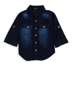 Girls 7-16 High Low Denim Top - 3606038340051