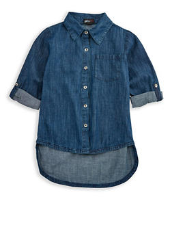 Girls 7-16 High Low Denim Shirt - 3606038340052