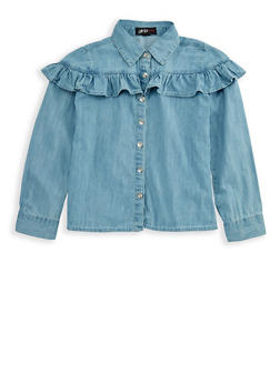 Girls 7-16 Long Sleeve Ruffled Denim Top - 3606038340067