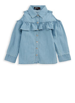 Girls 7-16 Ruffled Cold Shoulder Denim Top - 3606038340068