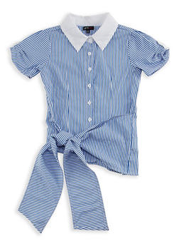 Girls 7-16 Stripe Short Sleeve Collared Shirt with Tie Waist - 3606038340070