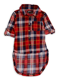 Girls 7-16 Plaid High Low Top - 3606038340071