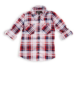 Girls 7-16 Long Sleeve Plaid Shirt - 3606038340072