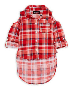 Girls 7-16 Cold Shoulder Plaid High Low Top - 3606038340087