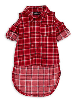Girls 7-16 Cold Shoulder Plaid High Low Top - 3606038340093