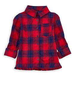 Girls 7-16 Frayed Plaid Shirt - 3606038340096