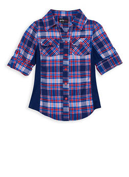Girls 7-16 Plaid Button Front Top - 3606038340097