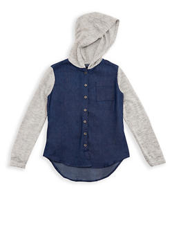 Girls 7-16 Denim Button Down Shirt with Knit Sleeves and Hood - 3606038340100