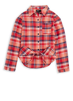 Girls 7-16 Plaid Button Tie Front Top - 3606038340109
