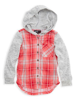 Girls 7-16 Long Knit Sleeves Hooded Plaid Button Front Top - 3606038340110