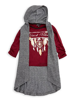 Girls 7-16 Good Vibes Graphic Top with Hooded Cardigan - 3606038340113