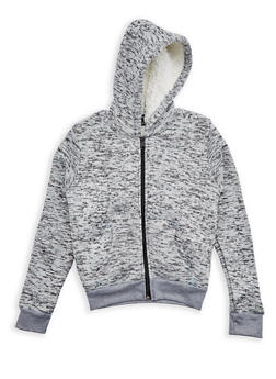 Girls 7-16 Sherpa Lined Marled Zip Front Hoodie - 3606038340114