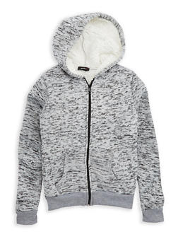 Girls 7-16 Sherpa Lined Zip Front Hoodie - 3606038340117
