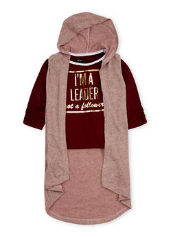 Girls 5-16 Im A Leader Graphic Top with Hooded Cardigan - 3606038340119