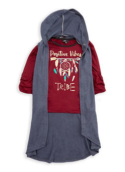 Girls 7-16 Graphic Top with Hooded Cardigan - 3606038340144