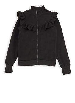 Girls 7-16 Ruffled Fleece Zip Front Sweatshirt - 3606038340147