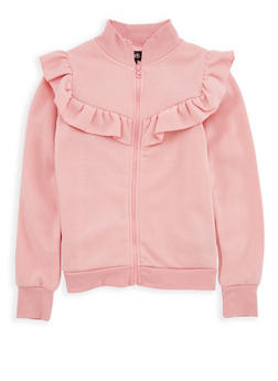 Girls 7-16 Ruffled Fleece Zip Front Sweatshirt - 3606038340147
