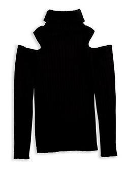 Girls 7-16 Ribbed Knit Cold Shoulder Top - 3606038340150