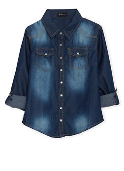 Girls 7-16 Western Chambray Button Up Top - 3606051060003