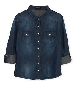 Girls 7-16 Western Chambray Button Up Top - 3606051060004
