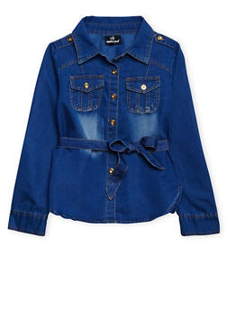Girls 7-16 Belted Denim Shirt with High-Low Hem - 3606054730004
