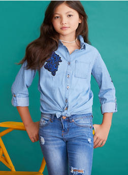 Girls 7-16 Limited Too Denim Top with Rose Applique - 3606060990001