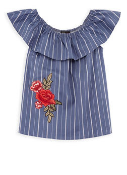 Girls 7-16 Off the Shoulder Striped Top with Floral Applique - 3606061950008