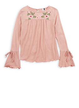 Girls 7-16 Long Bell Sleeve Top with Floral Print - 3606061950012