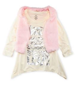 Girls 7-16 Love Graphic Top with Plush Vest Set - 3606061959961