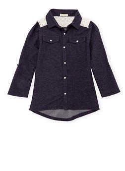 Girls 7-16 Knit Denim Top with Lace Yoke - 3606061959962