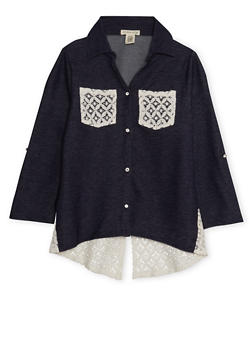 Girls 7-16 Knit Denim Tunic Top with Lace Trim - 3606061959963