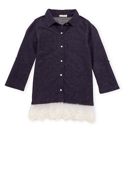 Girls 7-16 Chambray Tunic Top with Crochet Paneling - 3606061959964