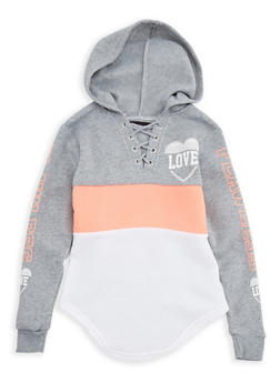 Girls 7-16 Color Block Graphic Hooded Sweatshirt - 3606063400024