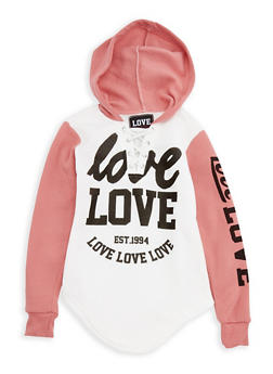 Girls 7-16 Love Graphic Hooded Fleece Sweatshirt - 3606063400025