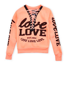Girls 7-16 Lace Up Graphic Sweatshirt - 3606063400030