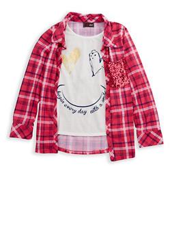 Girls 7-16 Layered Graphic Plaid Shirt - 3606073990001