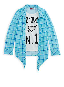 Girls 7-16 Layered Graphic Plaid Shirt - 3606073990002