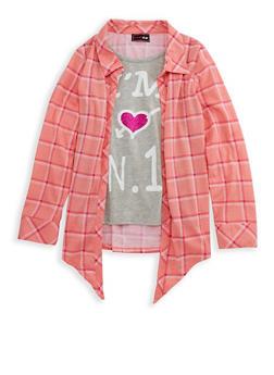 Girls 7-16 Layered Graphic Plaid Shirt - 3606073990002
