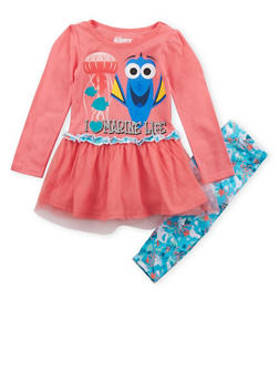 Girls 4-6x Finding Dory Tunic Top and Leggings Set - 3607009290002