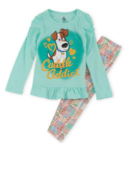 Girls 4-6x Top and Leggings Set with Secret Life of Pets Graphic - 3607009290005