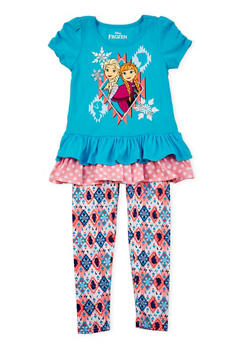 Girls 4-6x Tunic Top and Printed Leggings Set with Frozen Graphic - 3607009290031
