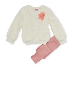 Girls 4-6x Faux Fur Sweater and Leggings Set - 3607009290043
