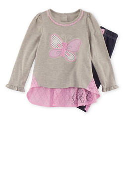 Girls 4-6x Butterfly Top with Jeggings Set - 3607009290049