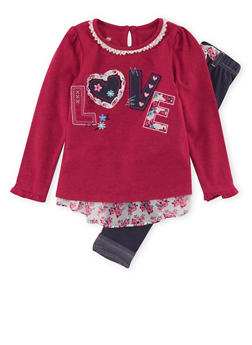 Girls 4-6x Love Patch Top and Jeggings with Belt Accent - 3607009290050