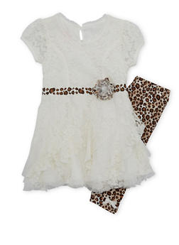 Girls 4-6x Ruffle Lace Skater Dress with Leopard Print Leggings - 3607009290053