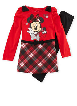 Girls 4-6x Minnie Mouse Plaid Dress and Leggings Set - 3607009290058